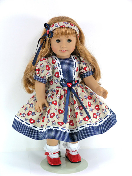 Handmade 18 inch Patriotic Clothes fit American Girl Doll - Dress, Headband, Pantaloons - Red, Navy Stars, Checks