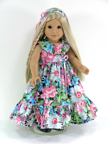 Doll Clothes Handmade for American Girl Julie, Nanea, Kanani - Multi-Color Floral - Dress, Headband, Pantaloons