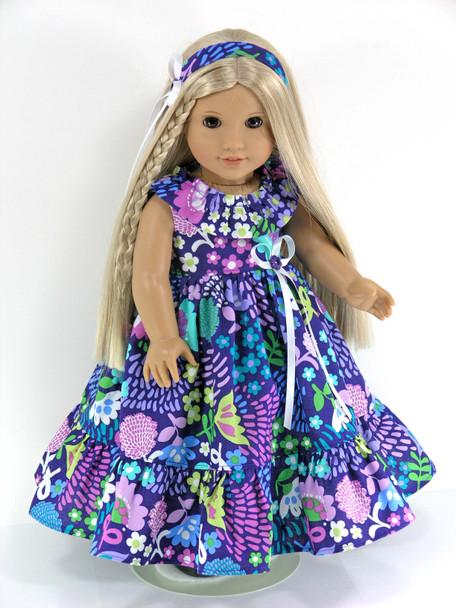 Handmade 18 inch Clothes fit American Girl Dolls  Nanea, Julie,  Kanani - Purple Floral - Dress, Headband, Pantaloons
