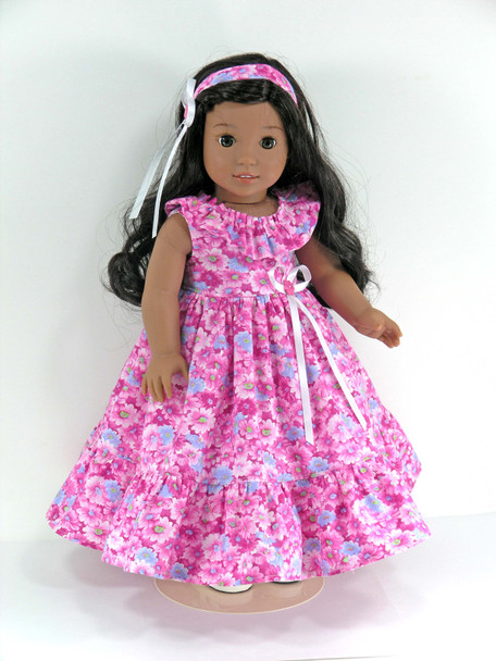 Handmade 18 inch Doll Clothes for American Girl Nanea, Kanani, Julie - Pink Floral - Dress, Headband, Pantaloons