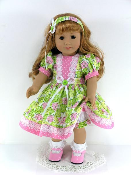 Handmade 18 inch Clothes fit American Girl Doll- Dress, Headband, Pantaloons - Green, Pink Dots Plaid