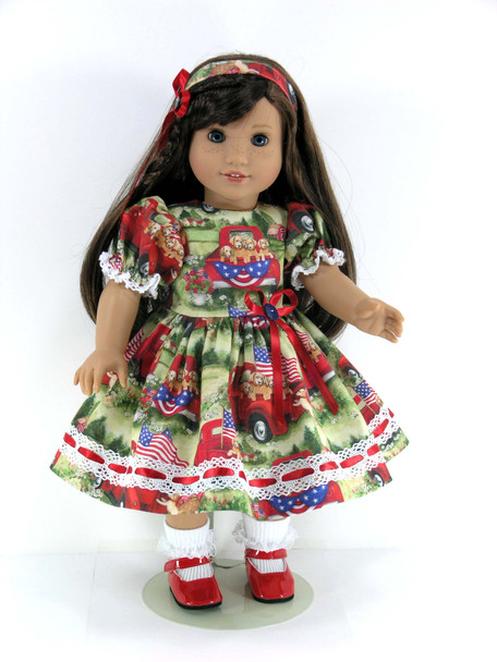 18 inch Doll Clothes Handmade for American Girl - Dress, Pantaloons, Headband - Trucks, Patriotic Puppies and Flags