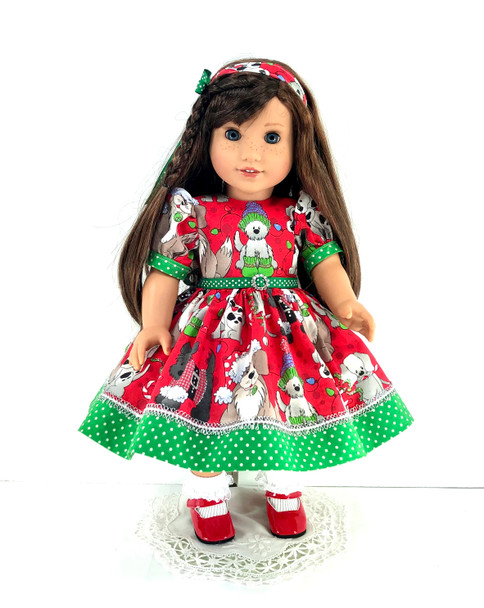 Handmade 18 Inch Christmas Doll Clothes fit American Girl - Dress, Pantaloons, Headband - Red, Green Sparkle Puppies
