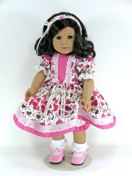 Handmade 18 inch Clothes for American Girl - Dress, Pantaloons, Headband - Rose, Gold Sparkly Hearts