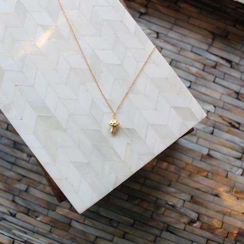 18K Gold-Dipped Mini Mushroom Necklace