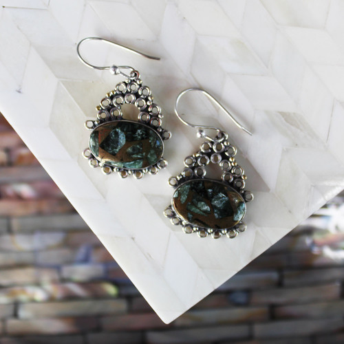 Copper Seraphanite Sterling Silver Earrings