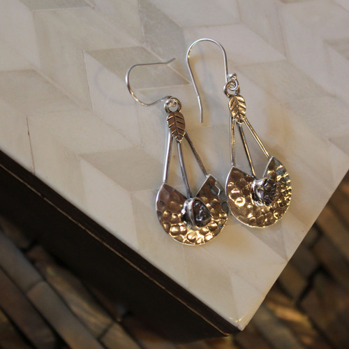 Designer Meteorite Sterling Silver Earrings