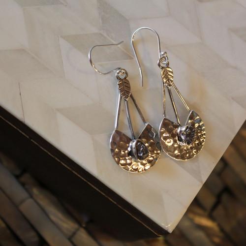 Designer Meteorite Sterling Silver Earrings