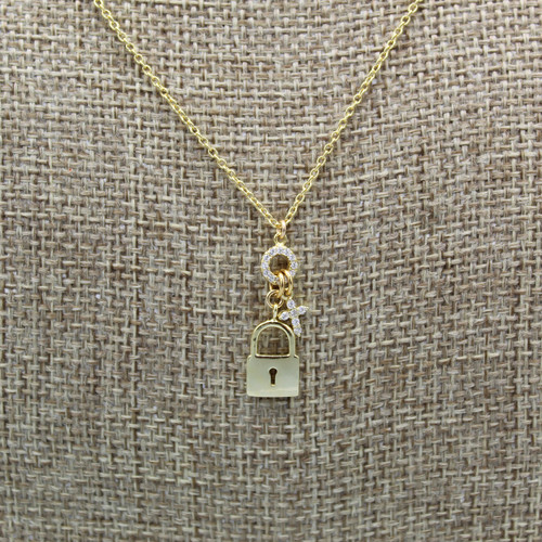 Lock and Cubic Zirconium Cross Necklace by Modern Opus