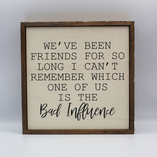 "Wooden Sign: ""We've been friends for so long I can't remember which one of us is the bad influence."""