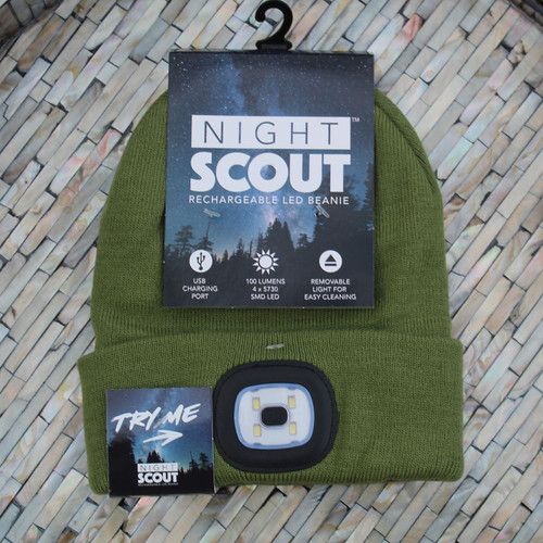 Rechargeable LED Beanie - Olive
