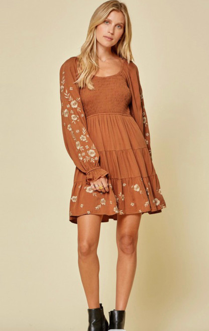 Fall Floral Embroidery Dress