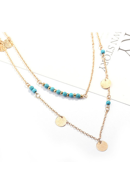 Turquoise and Glam Layered Necklace