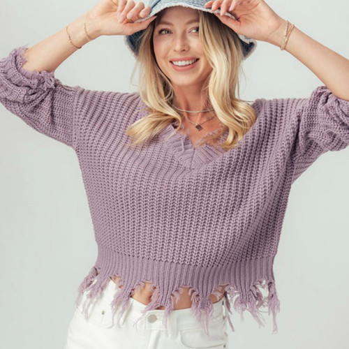 A Touch Of Fall Frayed Hem Sweater