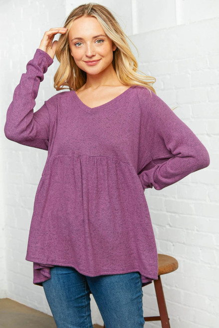 Fields of Blossoms Babydoll Top - Purple