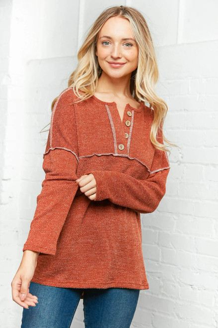 Ready for Cooler Weather Top - Rust