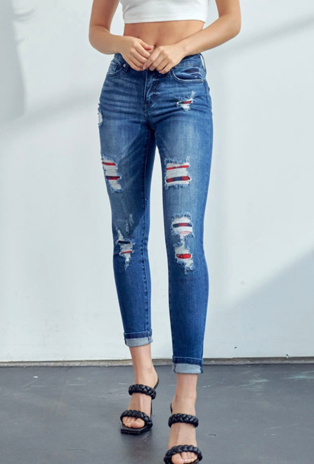 KanCan - Coco Plaid Patch Ankle Skinny