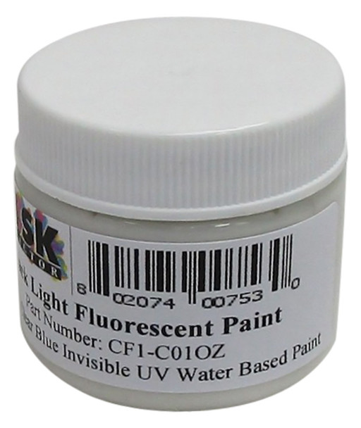 CF1-C01OZ Ounce of Clear Blue Invisible Water Based Fluorescent Paint