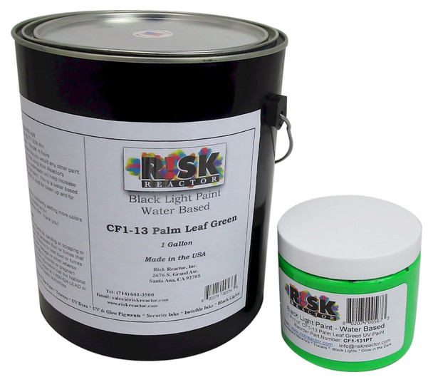 View of the pint size and gallon size CF1-131GAL day glow fluorescent paint