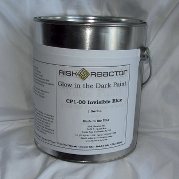 Paint that is white in regular light and glows blue CP1-001GAL by the gallon.