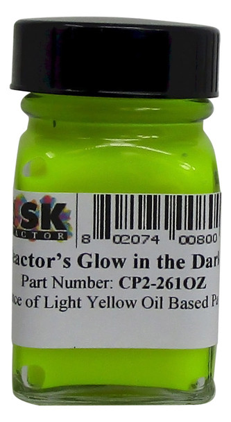 CP2-261OZ Ounce of Light Yellow Glow in the Dark Oil Paint