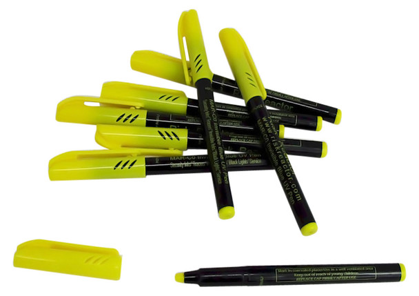 Bag of dozen Invisible Blue UV Black Light Pens MAR-C012
