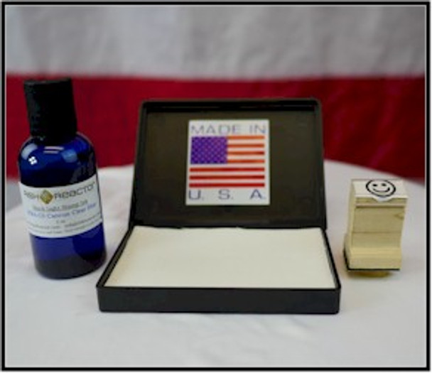 PAD1 with 2 ounces of readmission black light inks and wood hand stamp