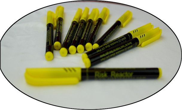 Invisible marking pens using fluorescent ink and requires Risk Reactor Inc black light to see.