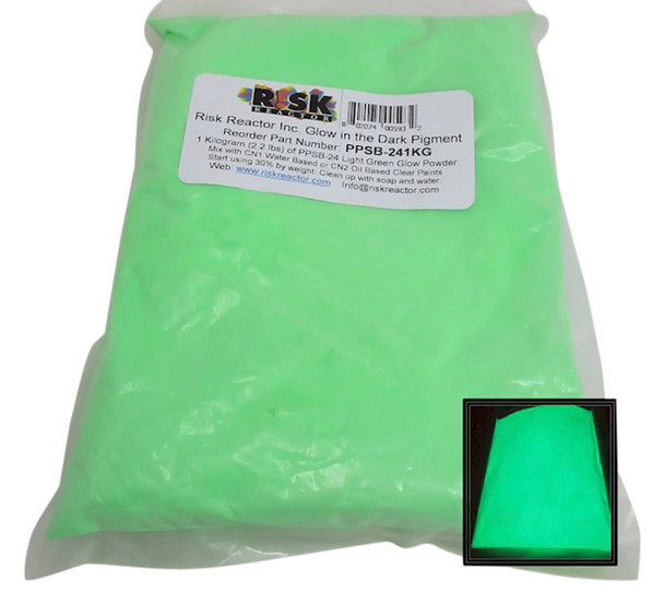 Light Green luminescent powdered colorant PPSB-241KG for use in arts and crafts