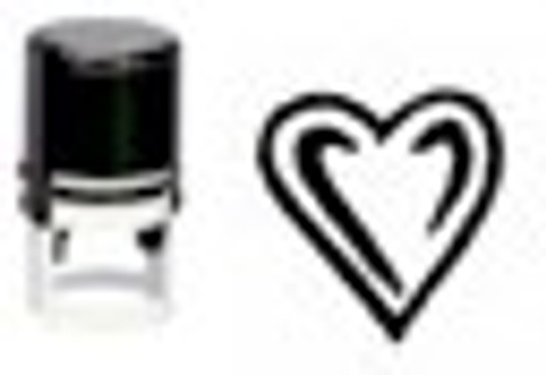 SHEART1RD round self inking hand stamper use with black-light fluorescent inks or regular coatings