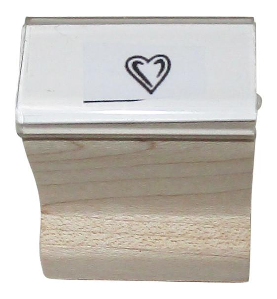 SHEARTW Black-lite Heart Walnut Handle Rubber Bar Stamp