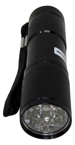 Front view of the B9UV black light flash light