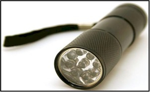 B9UV12 nine UV LED black light flashlight that comes with batteries and can be used to see anything fluorescent