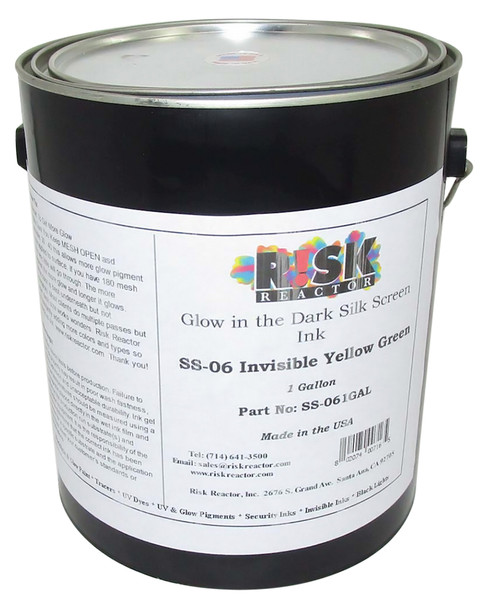 SS-061GAL one gallon of invisible Yellow Green Screen Glow Inks