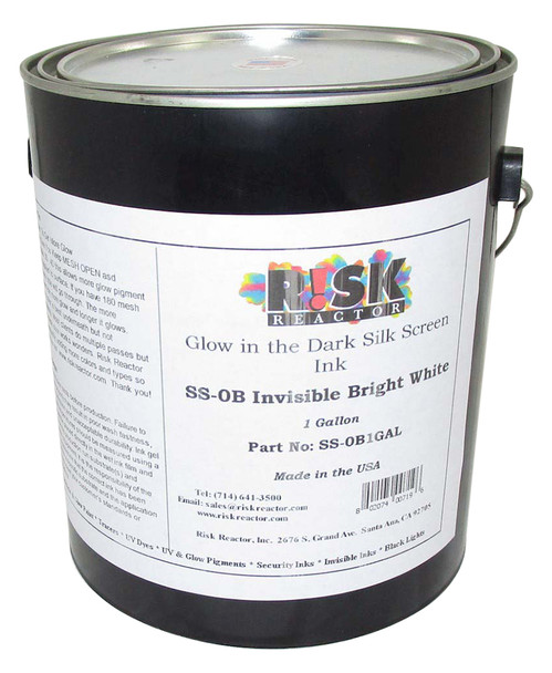 SS-0B1GAL gallon of Invisible Bright White Screen Phosphorescent Screen Inks