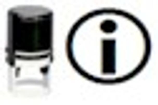 Stamper SINFORMATION1RD makes the black light image of a universal symbol for information or you can get your own custom UV stamper.