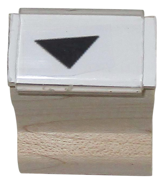 SDOWNARROWW Down Arrow Walnut Handle Rubber Hand Stamp