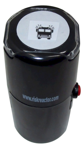 SFIRETRUCK1RD Fire Truck Round Self Inking Stamper for invisible fluorescent inks