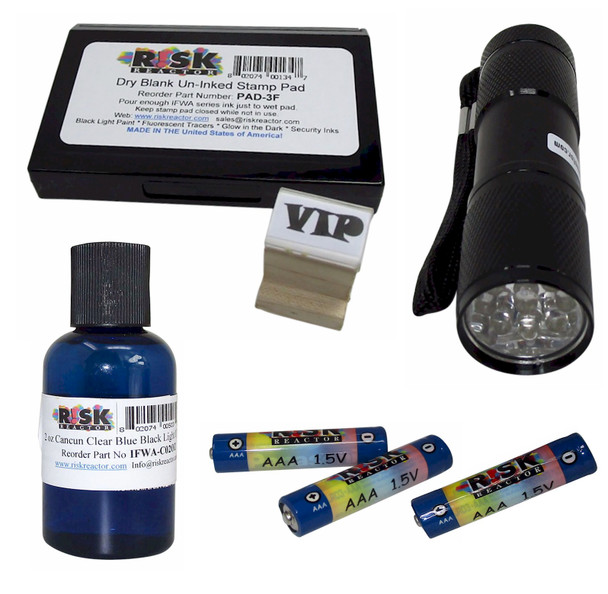 UVWOODKITCUSTOM Invisible black light ID stamping kit complete with batteries, UV pen, PAD and custom wood stamp ready for your next event