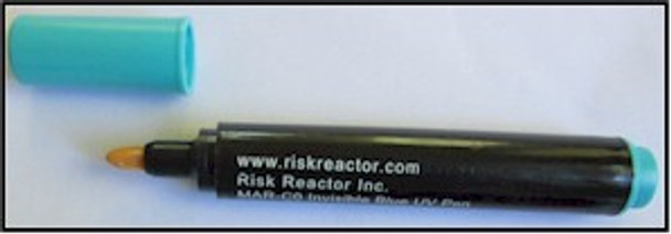 Risk Reactor MAX-C0 invisible blue marker works on any surface.