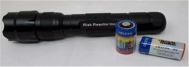 SUPERTAC UV-365 UV light takes 18650 battery or use two CR123 types of batteries.