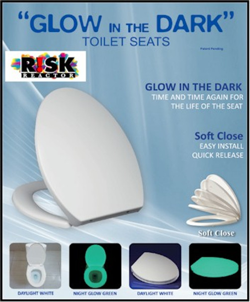 Round style toilet seat that contains strontium aluminate phosphorescent pigments which make it glow all night