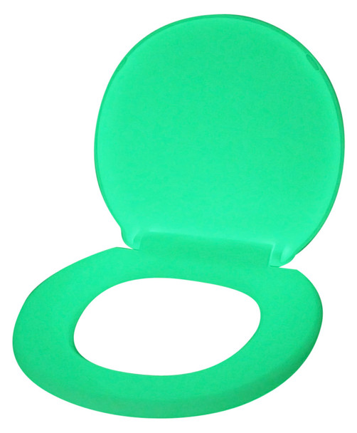 GLOWSEAT-RG Round Yellow Green Glow in the Dark Phosphorescent Toilet Seat