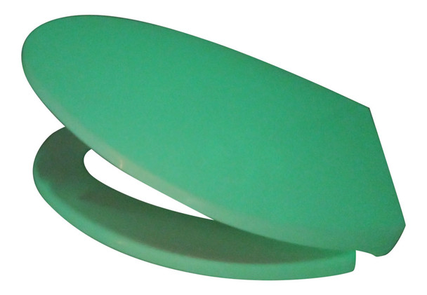 Elongated style toilet seat GLOWSEAT-EG glowing green in the open position