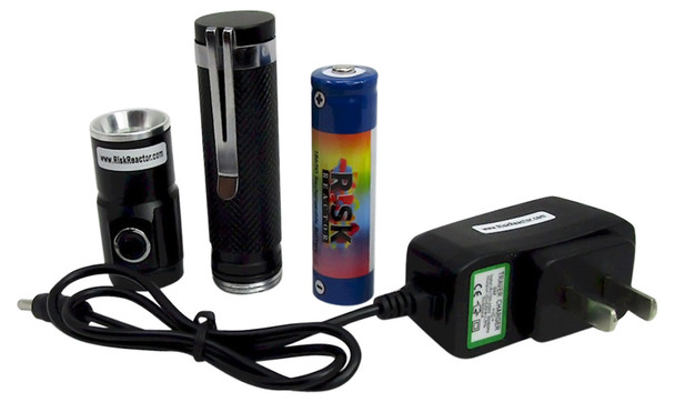 Complete black light set with UV lights source, battery, and the charger called BRTH-365