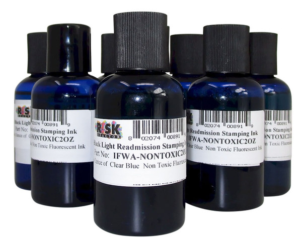 Eight two oz non toxic and Non Flammable fluorescent prison stamping ink 8PK2OZNONTOXIC