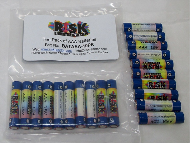 Set of ten AAA batteries for black lights and UV energy sources