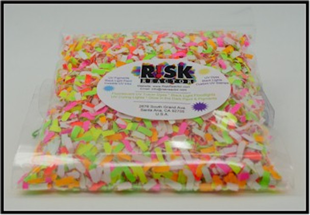 Black light reactive fluorescent paper shred confetti, perfect for your UV party