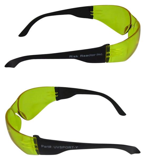 Box of six amber safety glasses that enhance black lights UVSPORT-YBOX6