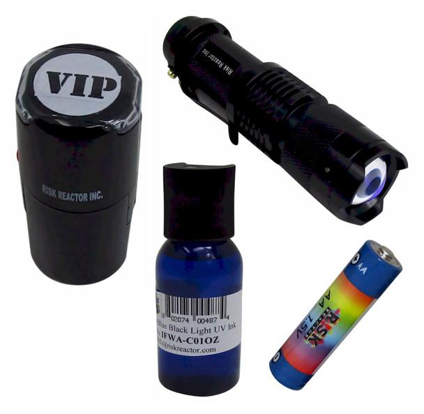 KIDM-B Clear Blue Complete Stamping ID KIt MINI ZOOM flashlight with Batteries